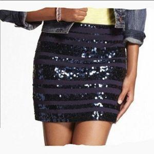 Express Navy Blue Sequin Mini Skirt